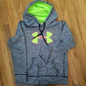 Under Armour gray hoodie with neon green logo